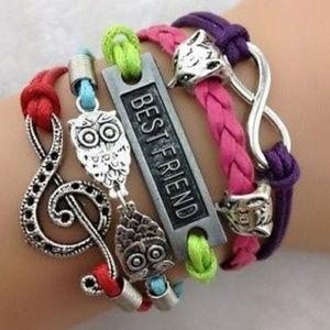 Jewelry - 3/$6 Music Note Owl Best Friend Infinity Bracelet